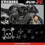 16 stickers tete de mort SKULL RAIN - ARGENT