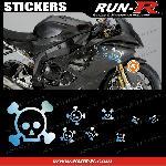 16 stickers tete de mort SKULL RAIN - CHROME