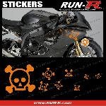 16 stickers tete de mort SKULL RAIN - ORANGE