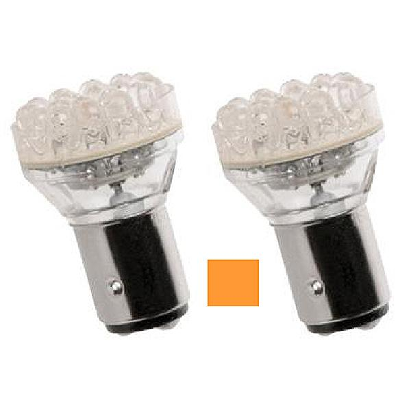 2 Ampoules BA15S LED - 12V - 21W - Eclairage Orange
