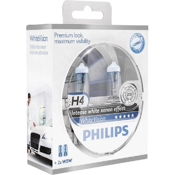 2 ampoules H4 12V 55W 4300K +2 W5W - WhiteVision - 12342WHVSM-