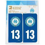 2 Autocollants Dep 13 pour plaque immatriculation OM - Olympique De Marseille