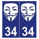 2 stickers Run-R PI025 Anonymous pour plaque immatriculation - 100x46mm Run-R Stickers