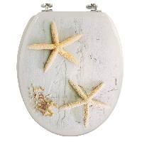 Abattant Wc - Rehausseur Abattant WC bois decor etoile de mer - blanc