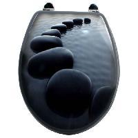 Abattant Wc - Rehausseur Abattant WC decoratif galets - noir