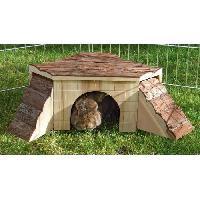 Accessoire De Cage - Abri Petit Animal KERBL Maison Nature avec rampe pour rongeurs - 37x37x16cm