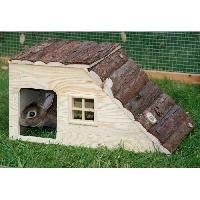 Accessoire De Cage - Abri Petit Animal KERBL Maison Nature avec rampe pour rongeurs - 49x25x25cm