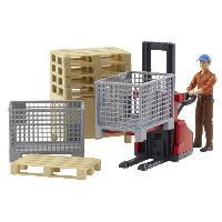 Accessoire De Figurine BRUDER - Set de logistique Bworld avec figurine - 20 cm