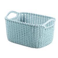 Accessoire De Meuble Paniere de rangement rectangulaire Knit 3 L tricot bleu