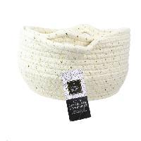 Accessoire De Meuble TOTALLY ADDICT Panier rangement coton - Blanc et fibre dore - X3 - Blanc - Aucune