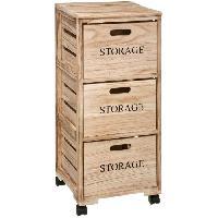 Accessoire De Meuble Tour de rangement 3 tiroirs en bois style Cagette