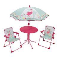 Accessoire Plein Air - Piece Detachee Plein Air FUN HOUSE 713088 FLAMANT ROSE Salon de jardin avec une table. 2 chaises pliables et un parasol pour enfant