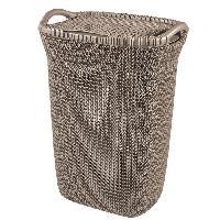 Accessoire Salle De Bain Coffre a linge 57 L - Aspect tricot - Marron - Avec poignees et couvercle a clip