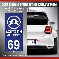 Accessoire exterieur 2 stickers plaque immatriculation Modele