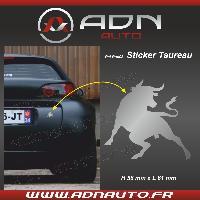 Accessoire exterieur Adhesif Sticker Argent - Taureau Corrida - H84mm x L90mm