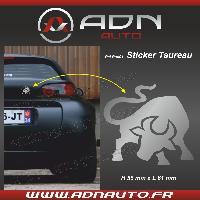 Accessoire exterieur Adhesif Sticker Argent - Taureau Stylise - H80mm x L90mm