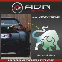 Accessoire exterieur Adhesif Sticker Chrome - Taureau Stylise - H80mm x L90mm