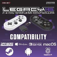 Accessoires Jeux Video - Accessoires Console Manette Sans Fil - RetroBit Legacy 16 Grise - Switch. PC. Steam. Raspberry Pi. SNES. Android