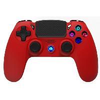 Accessoires Jeux Video - Accessoires Console Manette Sans Fil Rouge avec Prise Jack pour casque et boutons lumineux pour PS4