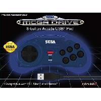 Accessoires Jeux Video - Accessoires Console Manette filaire bleue Retrobit SEGA Mega Drive Connexion USB - Just For Games
