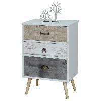 Accessoires Literie CEBU Chevet scandinave blanc et gris + pieds en bois naturel - L 45 cm