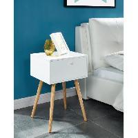 Accessoires Literie HORTENSE Table de chevet scandinave blanc laque satine - L 40 cm - Generique