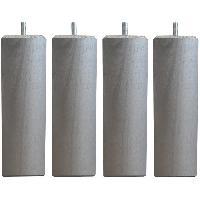 Accessoires Literie Jeu de pieds carres L 6 cm x l 6 cm H 17 cm - Gris metal - Lot de 4