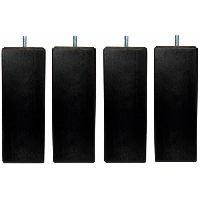 Accessoires Literie Jeu de pieds carres L 6 cm x l 6 cm H 17 cm - Noir - Lot de 4