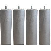 Accessoires Literie Jeu de pieds carrés L 6 cm x l 6 cm H 19 cm - Gris métal - Lot de 4