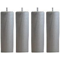 Accessoires Literie Jeu de pieds carres L 6 x l 6 x H 24.5 cm Gris metal - Lot de 4