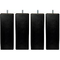 Accessoires Literie Jeu de pieds carres L 7 cm x l 7 cm H 14.5 cm - Noir - Lot de 4