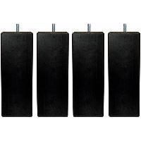 Accessoires Literie Jeu de pieds carres L 7 cm x l 7 cm H 19 cm - Noir - Lot de 4