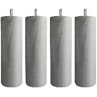 Accessoires Literie Jeu de pieds cylindriques D 6.2 cm H 19 cm Gris metal - Lot de 4