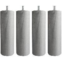 Accessoires Literie Jeu de pieds cylindriques Ø 6.2 cm H 24.5 cm Gris métal - Lot de 4