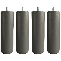 Accessoires Literie Jeu de pieds cylindriques Ø 6.2 cm H 24.5 cm Taupe - Lot de 4