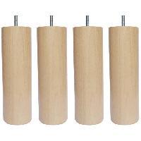 Accessoires Literie Jeu de pieds cylindriques en bois Ø 6.2 cm - H 17 cm - Lot de 4
