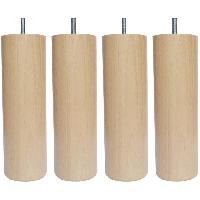 Accessoires Literie Jeu de pieds cylindriques en bois Ø 6.2 cm - H 24.5 cm - Lot de 4