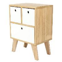 Accessoires Literie KEIKO Chevet scandinave en bois pin melamine blanc - L 35 cm - Generique