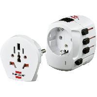 Adaptateur Electrique De Voyage BRENNENSTUHL Adaptateur de voyage BWA + (convient a tous les appareils. tres complet. fusible intégré). Blanc