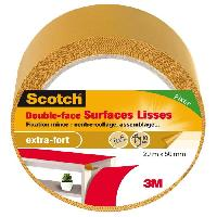Adhesif 3M SCOTCH Double-face - 20 m x 50 mm - Surface lisse