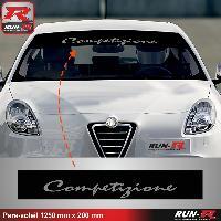 Adhesifs Alfa Romeo 1 pare-soleil compatible avec Alfa Romeo Competizione 125 cm - NOIR lettres ARGENT