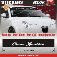 Adhesifs Alfa Romeo 1 pare-soleil pour Alfa Romeo CUORE SPORTIVO 125 cm - NOIR lettres blanches Run-R Stickers