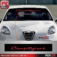 Adhesifs Alfa Romeo 1 pare-soleil pour Alfa Romeo Competizione 125 cm - NOIR lettres ROUGE Run-R Stickers