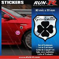 Adhesifs Alfa Romeo 2 Ecussons compatible avec ALFA ROMEO 9 cm - NOIR et CHROME