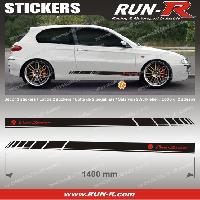 Adhesifs Alfa Romeo 2 stickers compatible avec ALFA ROMEO 140 cm - NOIR lettres ROUGES