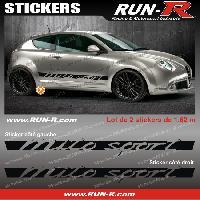 Adhesifs Alfa Romeo 2 stickers compatible avec Alfa Romeo Mito Sport 162 cm - NOIR