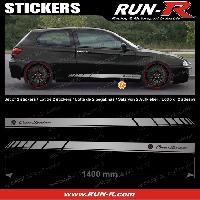 Adhesifs Alfa Romeo 2 stickers pour ALFA ROMEO 140 cm - ARGENT lettres NOIRES Run-R Stickers