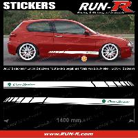 Adhesifs Alfa Romeo 2 stickers pour ALFA ROMEO 140 cm - BLANC lettres VERTES Run-R Stickers