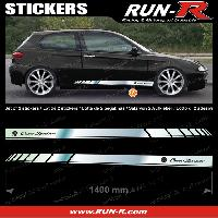 Adhesifs Alfa Romeo 2 stickers pour ALFA ROMEO 140 cm - CHROME lettres NOIRES Run-R Stickers
