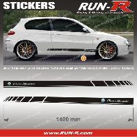 Adhesifs Alfa Romeo 2 stickers pour ALFA ROMEO 140 cm - NOIR lettres CHROMES Run-R Stickers